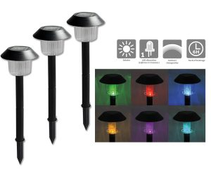 Set of 3 solar light – Changing color LED changing - AIC International