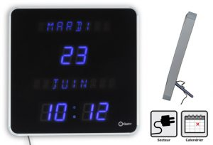 Blue LED clock with Calendar 5 languages - AIC International