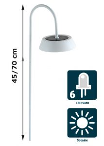 Lampe solaire Holi 20lm H70 cm - AIC International