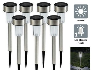 Set of 4 stainless steel solar light H34cm - AIC International