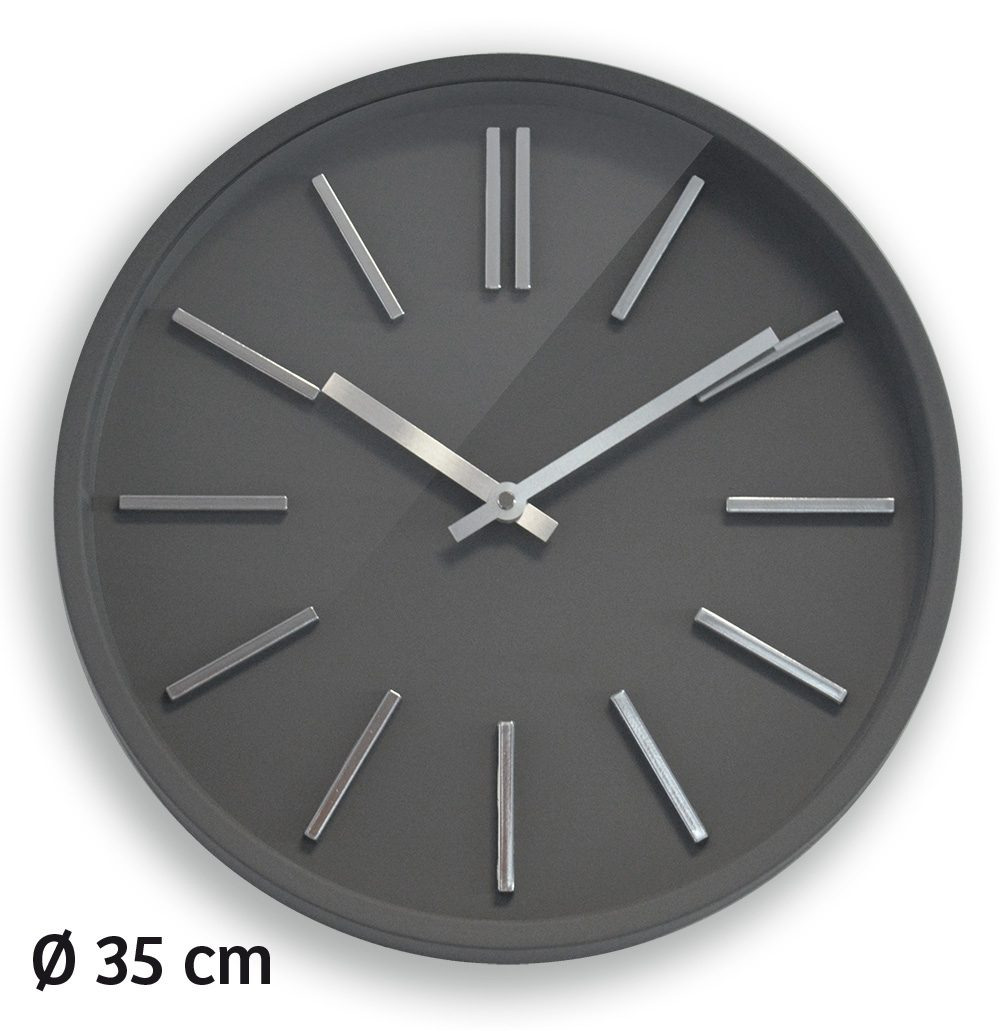 Horloge goma silence 35cm grise aic international for Horloge grise