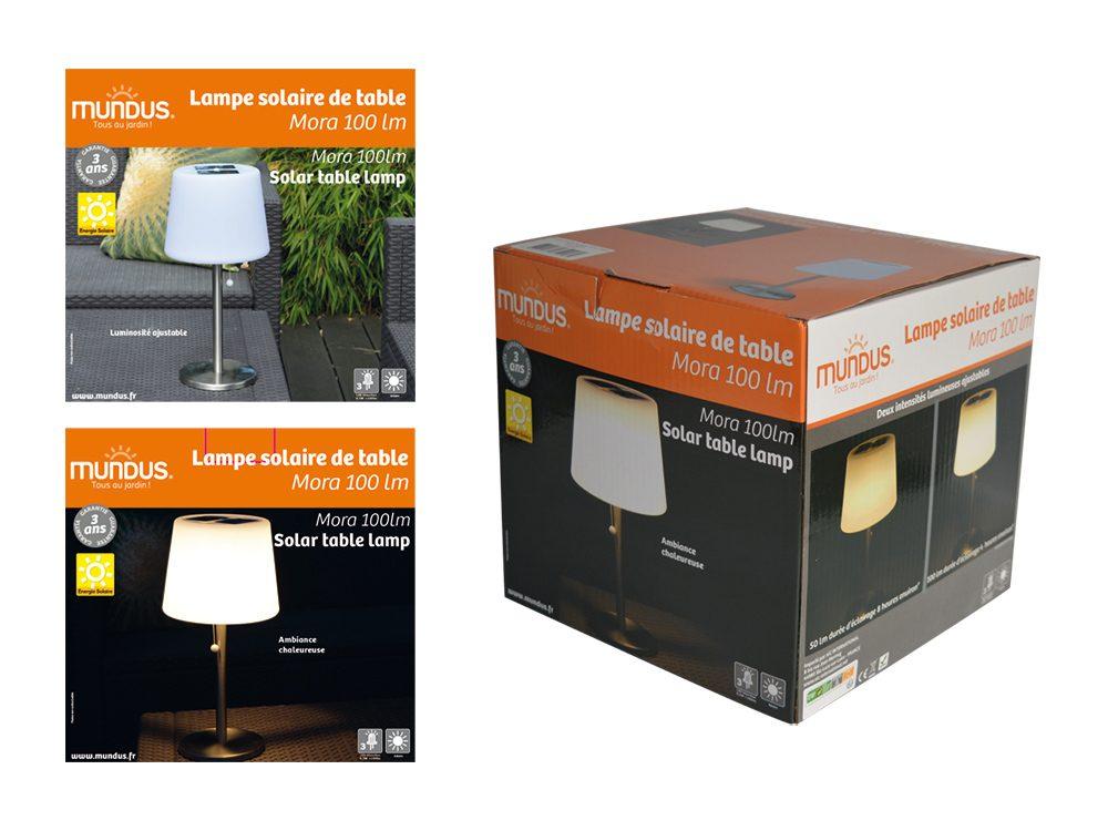 lampe solaire de table mora 100lm aic international. Black Bedroom Furniture Sets. Home Design Ideas