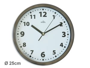 Inox basic clock Ø25cm - AIC International