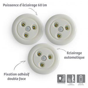 Pack of 3 night lights Solis - AIC International