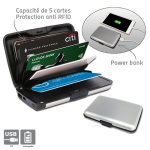 Porte carte de protection et power bank - AIC International
