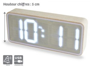 Wood LED alarm clock 220V - AIC International