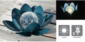 Déco lumineuse Solaire Lotus – Bleu - AIC International