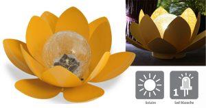 Déco lumineuse Solaire Lotus – Jaune - AIC International
