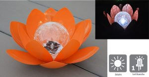 Déco lumineuse Solaire Lotus – Orange - AIC International