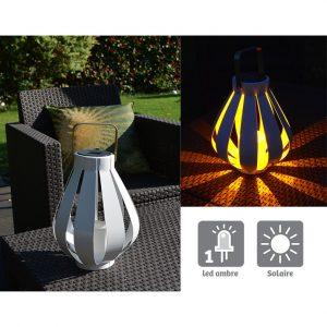 Lanterne solaire Alya Blanc H25cm - AIC International