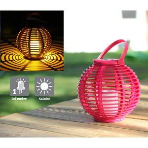 Lanterne colorée Ø22.5 cm rose - AIC International