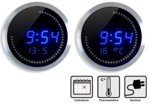 Horloge LED T° et date Ø30cm - AIC International