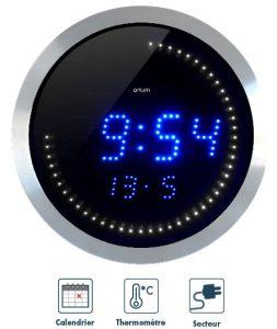Horloge LED T° et date Ø30cm - AIC International