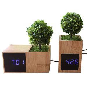 "LED bamboo alarm clock with plant ""Arti"""