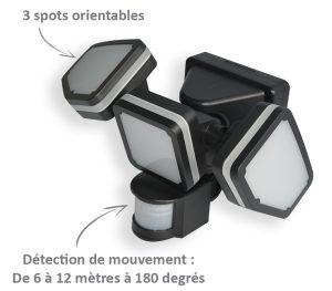 Projecteur solaire Triplex 1000lm