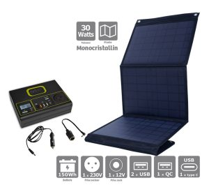 Pack power station IZYWATT 150 + solar panel 30W - AIC International