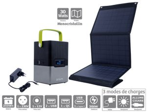 Pack power station IZYWATT 250 + solar panel 30W - AIC International