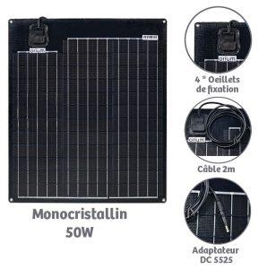 Panneau solaire semi-flexible 50w Monocristallin - AIC International