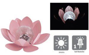 Déco lumineuse Solaire Lotus – Rose poudré - AIC International