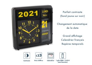 Horloge à date à volets – Noir - AIC International