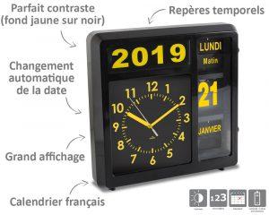 Horloge à date à volets – Noir - AIC International