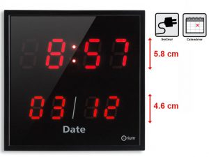 Red LED clock with date - AIC International