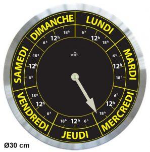 Horloge Contraste Hebdo Ø30