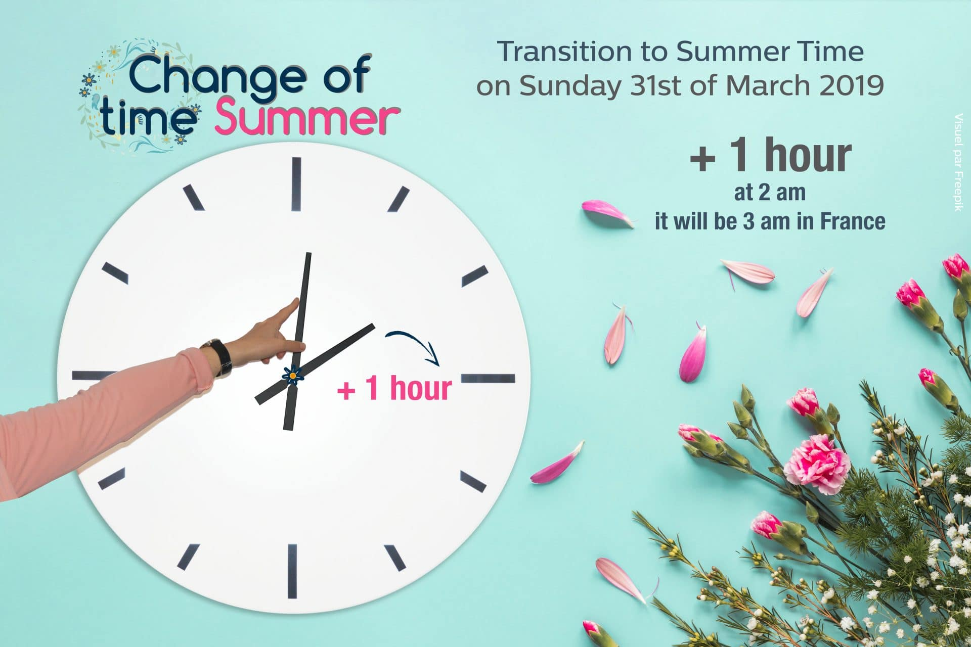 Change of time Winter / Summer, March 31st, 2019 in France !